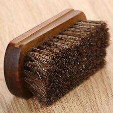 "Practical Horse Hair Pro Shoe Shine Polish Buffing Brush Length 4.33"" Wooden"