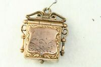 VICTORIAN ANTIQUE GOLD FILLED SQUARE WATCH FOB LOCKET CHARM PENDANT