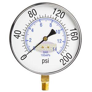 """Quality Compressed Air Pressure Gauge 200 PSI 1/4"""" MNPT Side Mount Mnt 4.5"""" Face"""