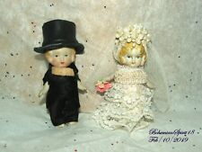 ANTIQUE JAPAN BRIDE & GROOM  BISQUE JOINTED ARMS MINIATURE 3.5'' WEDDING DOLLS
