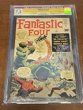 Fantastic Four #1 CGC 7.5 Silver Age Key 1961 Signed by Stan Lee 1st Mole Man 🔥