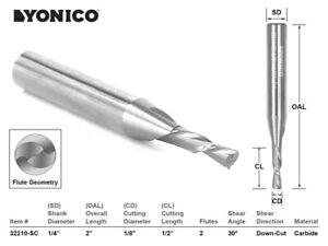 """1/8"""" Dia. 2 Flute Downcut CNC Router Bit - 1/4"""" Shank - Yonico 32210-SC"""