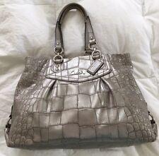 Coach 20345 Grey Ashley Croc Embossed Carryall Handbag Purse Bag-NICE
