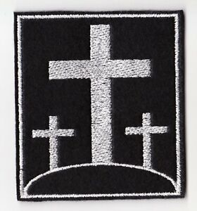 THREE CROSSES CHRISTIAN BIKER PATCH SEW ONE EMBROIDERED FELT PATCH #0098