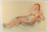 8463013 Rötelzeichnung sign Albert Zahlbruckner Wien Weiblicher Akt liegend 1956