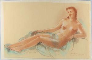 8463013 Rötelzeichnung Segno Albert Zahlbruckner Vienna Femminile Nudo Trova