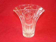 Stuart Crystal Vase. Made in England Etched Rose Medallion