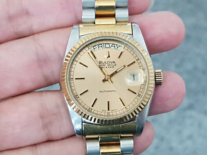 NICE & RARE BULOVA SUPER SEVILLE DAY DATE AUTOMATIC GENTS GOLD DIAL 2 TONE.