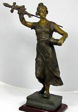 """Antique Spelter Metal Sculpture ( Wooden Base)   BEAUTIFUL!  (16.75"""" HIGH)"""