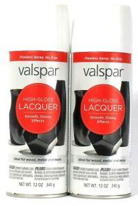 2 Cans Valspar 12 Oz High Gloss Lacquer 65061 Gloss White Spray Ideal Wood Metal