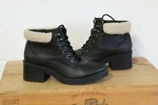 BLACK FAUX LEATHER ANKLE WORKER STYLE BOOTS SIZE 5 / 38 USED CONDITION