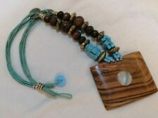 Turquoise Bead Necklace Blue Material Thong Wooden Square Pendant Inlaid mop
