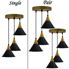 3 Way Cluster  Retro Industrial  Lamp Shade Loft ceiling pendent Light UK