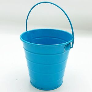 """Turquoise 4"""" Small Ribbed Tin Bucket"""