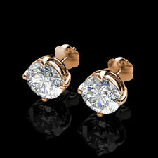 2Ct Brilliant Round Basket Screw Back Stud Earrings 14K Solid Rose Gold