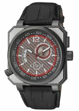 GV2 by Gevril Men's 4523 XO Submarine Luminous Black Leather Wristwatch