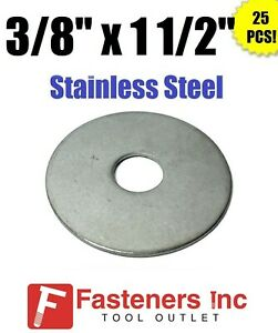 """(Qty 25) 3/8"""" x 1 1/2"""" OD Stainless Steel Fender Washers Type 304"""
