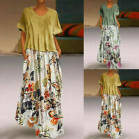Women Vintage Patchwork O-Neck Wrist Print Vintage Maxi Long Dress Plus Size