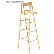 Escalera madera desnuda muñeca casa miniatura, stepladders 1.12 Escala