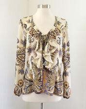 Cache Beige Paisley Print Ruffle Lace Up Front Blouse Top Size M Purple