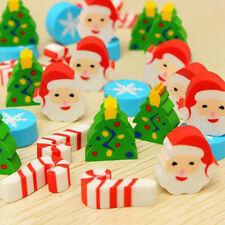 35Pcs Funny School Supplies Christmas Pattern Mini Pencils Rubber Eraser Gift