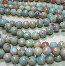 "Aqua Terra African Opal 10mm Round Beads 16"" Natural Impression Jasper"