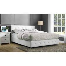Full Size Bed Frame White Tufted Upholstered Bedroom Furniture Headboard