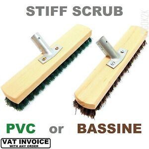 Deck Scrubbing Stiff Brush Sweeping Head Bristle Hard Broom Floor Garden Scrub