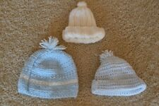 Lot Of 3 Infant Boy Beanies 3-9 months ~ Blue ~ White ~ New Without Tags