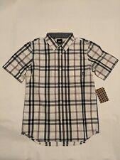 Vans New Bamford Short Sleeve Boy's Shirt Youth Medium 10-12 White/Dress Blues
