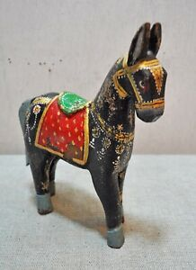 Fine Hand Carved Hand Painted Wooden India Ethnic Walking Black Horse Figurine