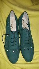 Green Suede Lace Front Mod Shoes by Umberto Mari Size 8