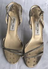 Preowned Jimmy Choo Nude Snakeskin Stilettos Strap Sandals Size 38