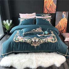 Egypt Cotton Garden Bedding Set Embroidery Silky Duvet Cover Sheet Pillowcases