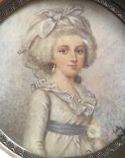 Tableau ancien XIX Portrait miniature Jeune femme XVIII signé
