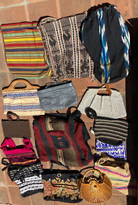 Lot of 15 Purses / Handbags / Totes  Boho Hippy slat tapestry woven Vintage