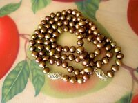 """10K JCM YELLOW GOLD SAFETY CLASPS 6-7MM BROWN FRESHWATER PEARL 18"""" NECKLACE SET"""