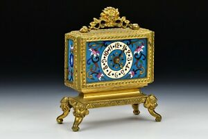 French Bronze and Cloisonne Mantel Clock Attributed to Edouard Lievre
