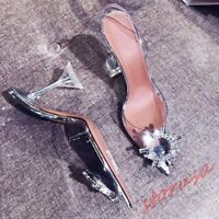 Ladies Transparent Pointed Toe High Heels Shpes Slingback Sandals Syilettos Pump