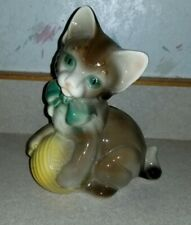Vintage Cute Ceramic Kitty Cat Kitten Ball of Yarn Brown Gray green Bow Figurine