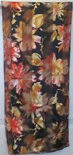 TERRIART Black, Gold, Copper Flowers 57x13 Long Scarf-Vintage