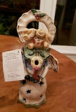 Blue Sky Clayworks Heather Goldminc Signed Christmas Caroling Angel Tea Light#49