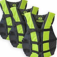 3 Pack Hardcore Adult Life Jacket PFD Type III Coast Guard Ski Vest Neon Yellow