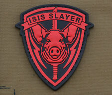 "PVC / Rubber Patch ""I**S Slayer Pig"" with VELCRO® brand hook"