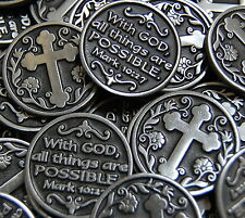 With God All Things Are Possible Pocket Token Coin Bulk Lot of 10