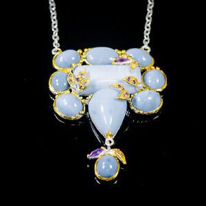 "Vintage Blue Opal Necklace 925 Sterling Silver  Length 18.5""/N06281"