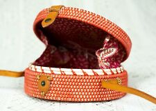 Milk and Sugar Women Round Rattan Woven Bag Shoulder Straps - Coral Red #NG
