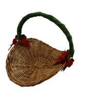 "Wicker Basket Flower Herb Gathering Christmas Holiday Basket 12"" long Vtg"