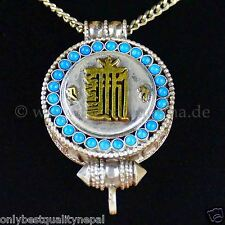 Amulette Talisman Médaillon Kalachakra Or Tibétain Gau Turquoises Nepal 143a