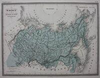 SIBERIA, RUSSIA IN ASIA, ARCTIC CIRCLE, original antique map, Malte-Brun, c.1882
